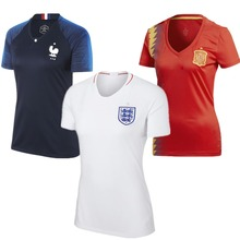 Wholesale custom printing 2018 France England Spain football t shirt women soccer jersey