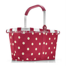 Double handles collapsible folding fabric shopping basket