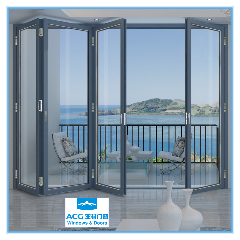 Custom made aluminum folding glass door buy glass for Retractable glass doors