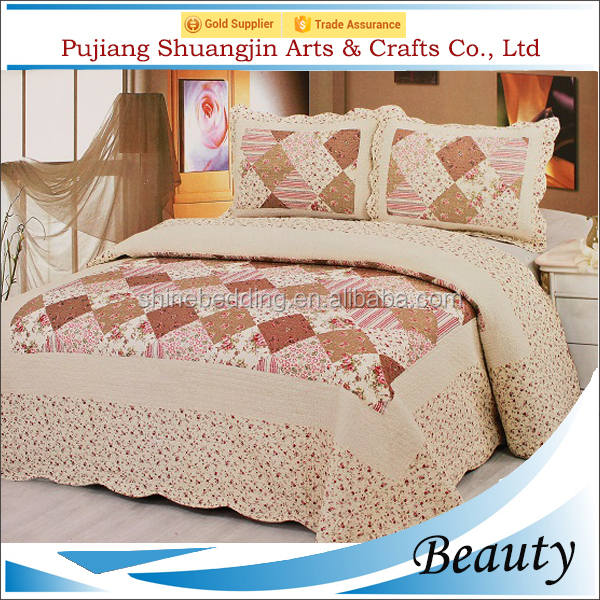 Alibaba china supplier floral printed quilt/patchwork quilted comforter bedding set