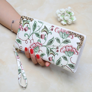 New arrival leather long wallet women fashion painted wallet purse