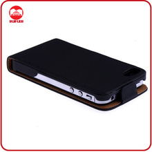 High Quality Black Executive Hand Made Flip Leder Genuine Leather Case for Iphone 4