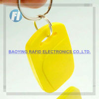 HOT ! plastic Reusable rfid key tag with metal ring iso14443 a