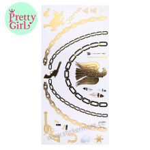 New Design Fashionable Mixed Gold and Silver Jewelry Style Temporary Tattoo LH-009gold