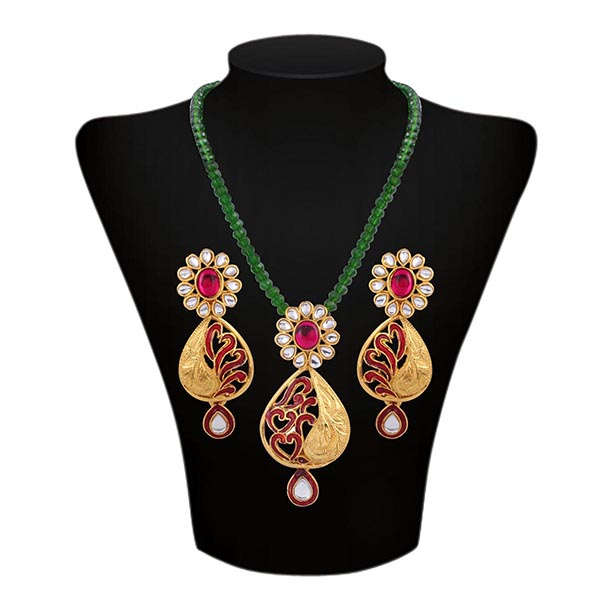 Floral Meenakari Kundan Beaded Necklace Set