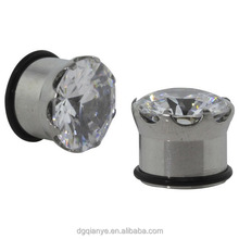 "5/8"" (16mm) - Prong-Set Large CZ Single Flared Ear Plugs with O - Ring - Body Jewelry"