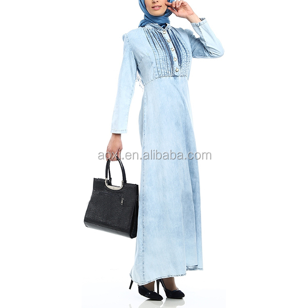 2014 China wholesale Ribbed front blue denim maxi dress new design turkey abayas for sale
