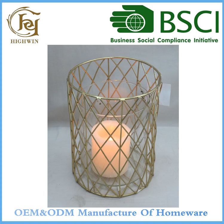 2017 Glod Iron woven Hanging standing candle holder
