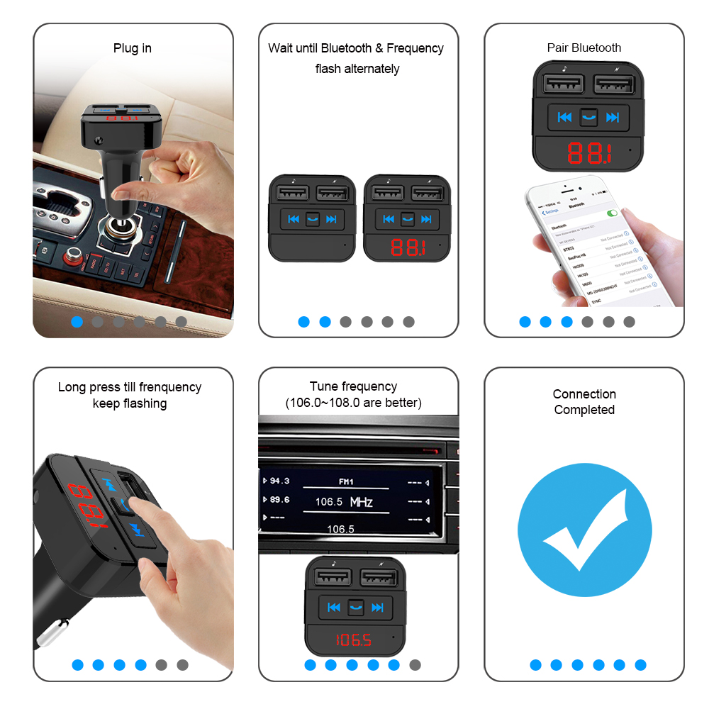 Fabrik OEM wireless FM Transmitter radio BT5.0 hands-free car kit Auto Scan FM frequenz 2 usb fm transmitter für home stereo