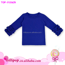 Baby Blank Royal blue Tops Long Sleeve Girls Ruffle T-Shirt
