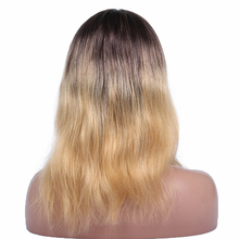 2018 Premier Best Quality Chinese Virgin Hair Ombre Color Wavy Dark Roots Human Hair Blonde Wigs