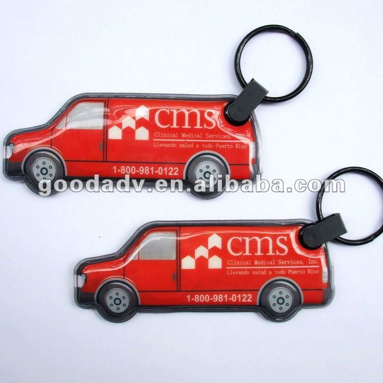 Guangzhou manufacturers Advertising logo Car shape keychain with light