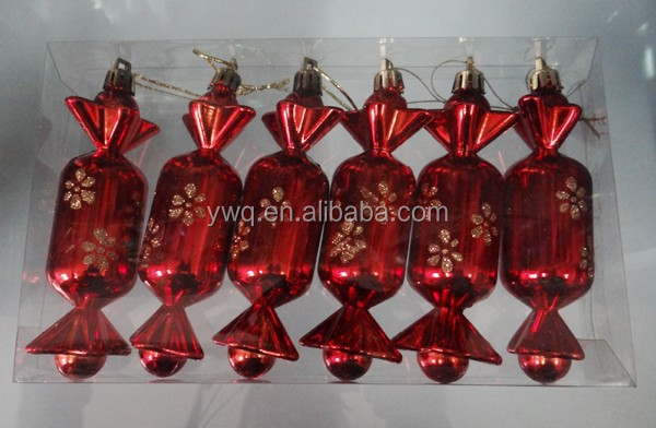 promotional glitter candy 10cm red candy creative xmas CANDY set outdoor christmas tree decoration set