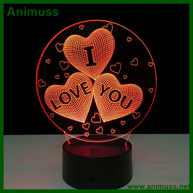 Romantic Gifts 3 Hearts I Love You 3d fanatic Visual Night Light Touch LED Table Desk Lamp 7 Color Change