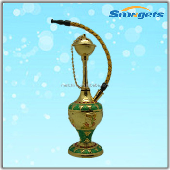 Gold Color With Green Glister Big Shisha In Egypt Design