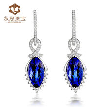 Hot korean model selling earrings for young girls with real tanzanite diamonds 0306