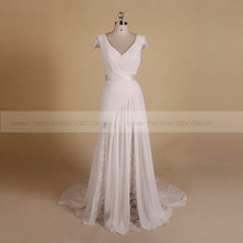 Engaging Boho Sheath Cap Sleeve Lace Chiffon Pleated Wedding Dress