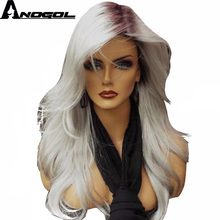 Anogol 2 Tones High Temperatuure Fiber Side Part Natural Long Straight Grey Ombre Dark Roots Synthetic Wig For Women