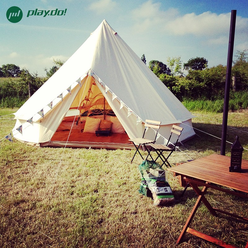 3M White Bell Tent Waterproof Cotton Canvas Family Camping ...