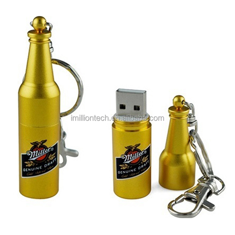 Any logo,best price,beer bottle shape 16gb usb flash drive