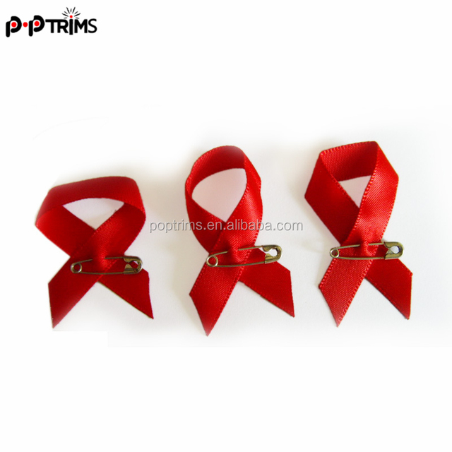 flat red colour Aids awareness ribbon bow with pin