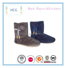 grey and navy plush material winter lady boots with pom poms