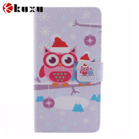 Cute owl cartoon pattern printed standing flip case for Samsung S4