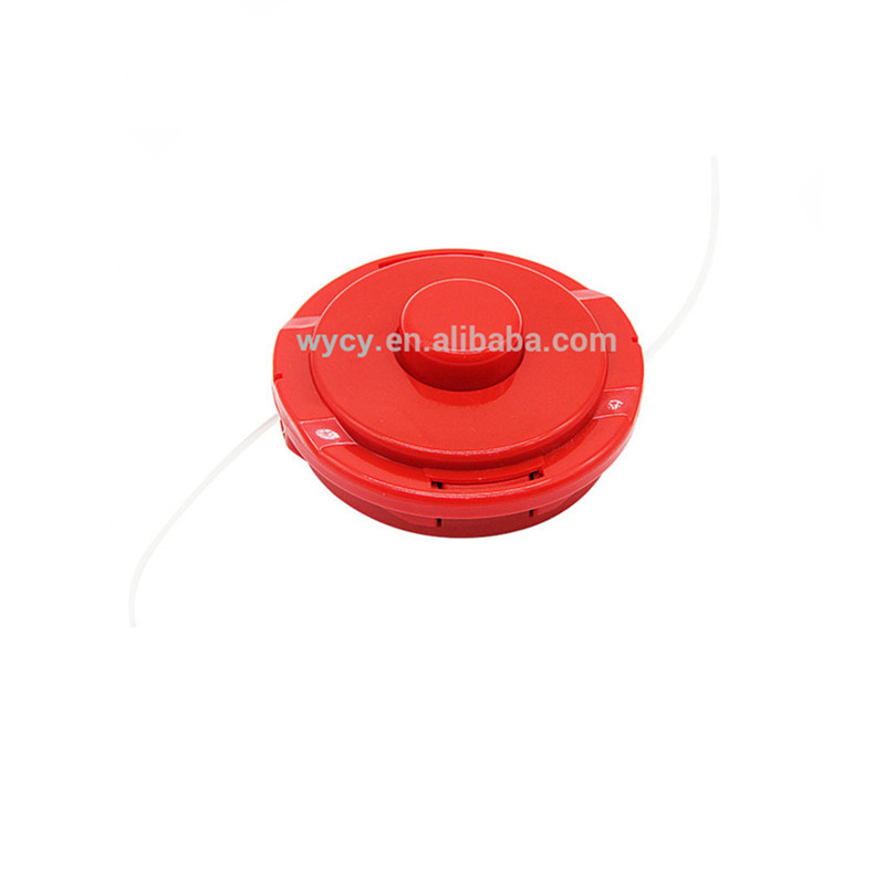 Manual bump feed string trimmer head for lawn mover