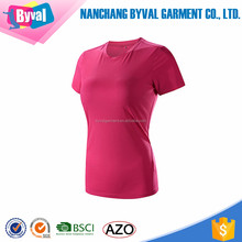 Womens 100% polyester dri fit compression t-shirts body fit sportswear running jersey tee shirts
