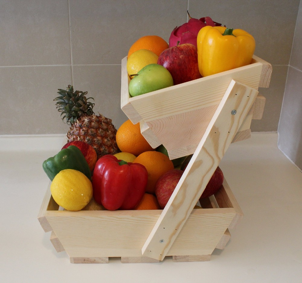 Fruit Basket Stand, Premium 2 Tier Wooden Display Rack For Fruits And Vegetables, Storage, Holder & Organizer