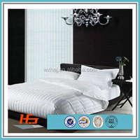 King size Duvet cover & 2 Pillow case set WHITE 100% cotton sateen stripe 300 thread count percale hotel luxury set