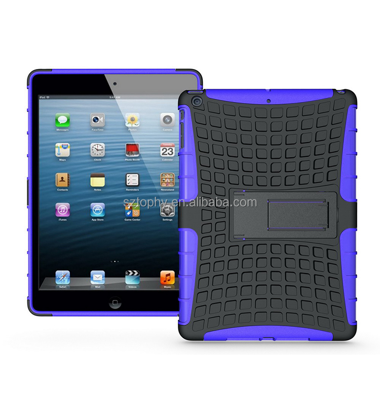 Mix Color Wholesale TPU Plastice Shatterproof Kickstand Case Hybrid Combo Case For iPad Air/For ipad 5
