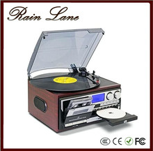 Rain Lane Hot sale gramophone multifunctional CD USB SD Cassette record player with 6 keys full function player