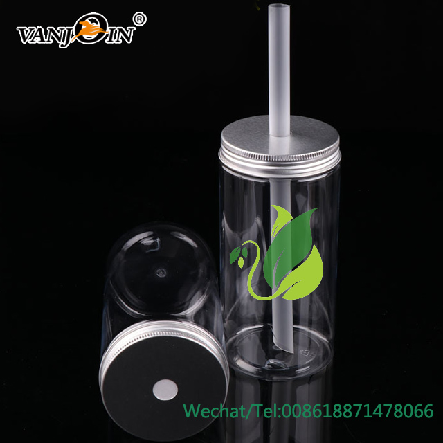 600ml Thin and Tall Clear Plastic Jar Storage Bottles for Juice Beverage with Straw