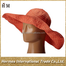 Orange Green Sun Protection Floppy Beach Ribbon Hat Foldable Large Brim Travel Sun Hat
