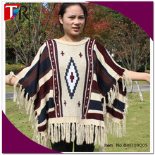 New bohemian style lady woolen poncho knit winter sweater shawl with taseel
