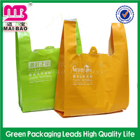 T shirt plastic bag for fast food packing/grocery/supermarket use with custom logo printed