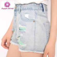Modern design color fade proof rips ladies shorts denim