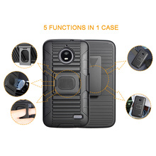 Alibaba factory direct mobile phone kickstand case for Motorola MOTO E4 clip holster