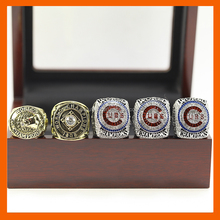 LT JEWELRY 1907 1908 2016 2016 2016 CHICAGO CUBS BASEBALL WORLD SERIES CHAMPIONSHIP RING, 5PC RINGS AS A SET WITH WOODEN BOX