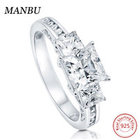 925 Sterling Silver Princess CZ 3-Stone Ring jewelry R502
