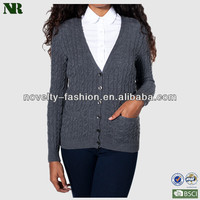 Ladies Wool Cable Cardigan Sweater