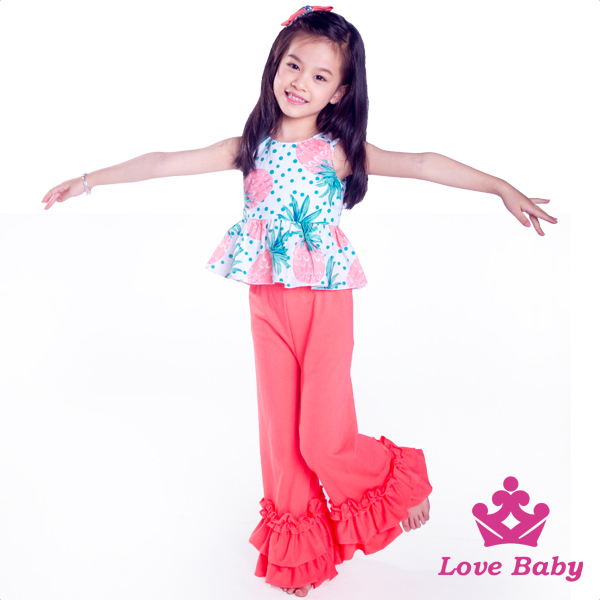 wholesSleeveless Wholesale Baby Clothes Kids Clothing Sets 0-6 Summer Teen Girl Clothing Set baby icing ruffle pant