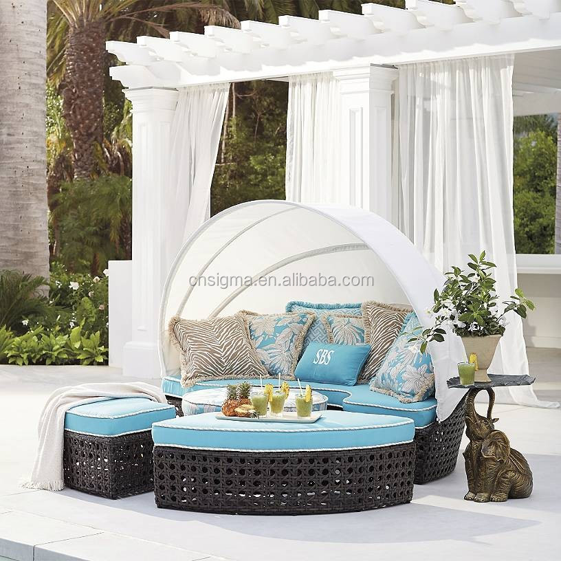 2017 Sigma wholesale trade assurance all weather antique rattan garden outdoor day beds with canopy