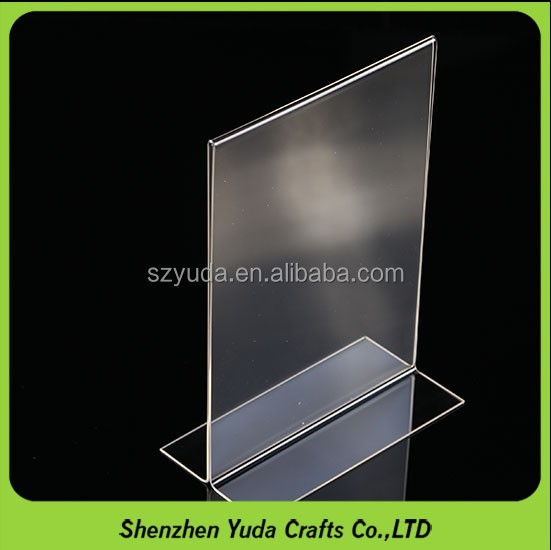 Free shipping T shaped counter top clear plexiglass photo table <strong>stand</strong>, acrylic menu holder sign holder wholesale