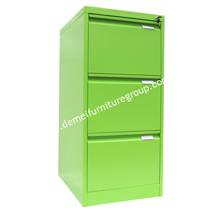 Cheap file display green steel storage cabinet with 3 drawer