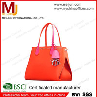 Orange fashion pu leather tote bag /elegant simple design pu leather handbag in european style