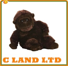15cm Sitting Plastic Eyes Long Tail All Black Stuffed Animal Plush Gorilla