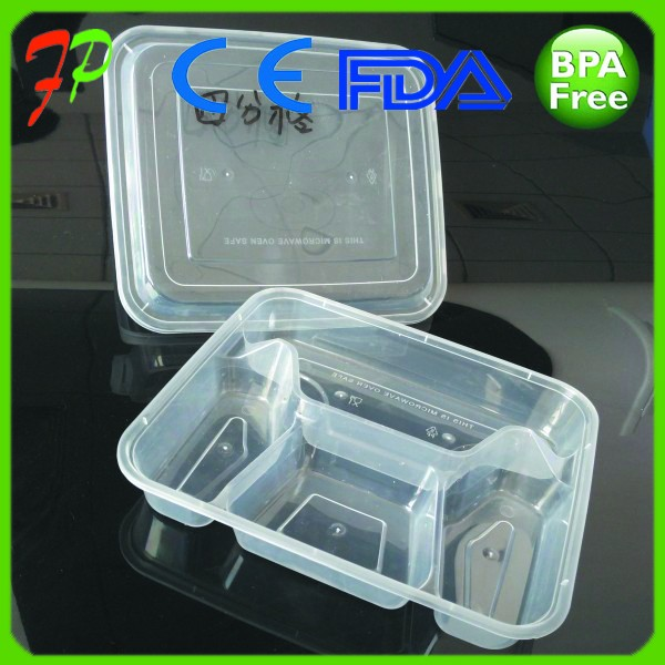 Hot Selling Meal Prep Container Stackable , Best Cardboard Sleeve Multi Plastic Food Container 3 Compartment Microwavable
