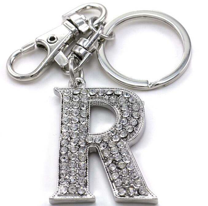 Factory price custom alphabetic initial letters keychain wholesale